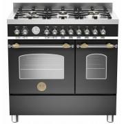 Bertazzoni HER906 Gasspis 90 cm, 2 ugnar, 6 brännare, Svart