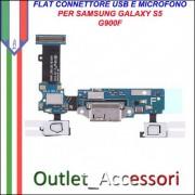 Flat Flex Connettore USB Carica Ricarica per Samsung Galaxy S5 G900F Microfono ORIGINALE