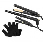 FULL 3 PIECE SET with MINI HAIR STRAIGHTENER (Black)