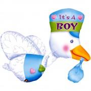 Balon folie figurina barza in zbor - este baiat, amscan, 58 x 81 cm, 07063
