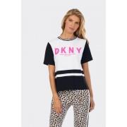 DKNY dámské tričko s růžovým nápisem - černá, bílá Velikost: L