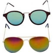 Freny Exim Aviator, Round Sunglasses(Green, Golden)
