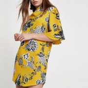 River Island Womens Yellow floral print flute sleeve dress (Size 14)