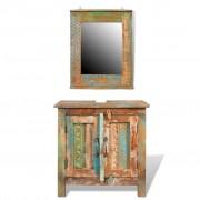 vidaXL Kupaonski ormarić + ogledalo od recikliranog drveta