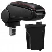 Подлакътник [pro.tec]® Hyundai I30 GD с контейнер за съхранение, Черен, червен шев/Кожа