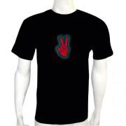 LED Electro Luminescence Hand Shaped Equalizer DJ/PUB/Disco Music Activated Flashing T Shirt 12001
