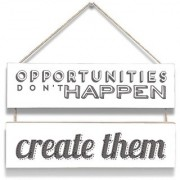 100yellow Opportunities DonT Happen Wall Door Hanging Board Plaque Sign For Wall Dcor (7 X 12 Inch)