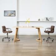 vidaXL Cadeiras de jantar giratórias 2 pcs tecido castanho