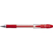 Pix cu gel PENAC FX-1, rubber grip, 0.7mm, con metalic, corp transparent - scriere rosie