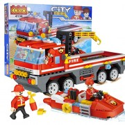 Babytintin Fire Rescue Truck and Boat Building Blocks Set Toy for Kids 354 Pieces
