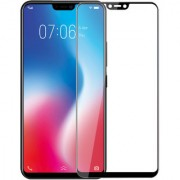 Hupshy Vivo V9 Youth Tempered Glass Screen Protector Full Glue Edge to Edge Fit 9H Hardness Bubble Free Anti-Scratch Crystal Clarity 2.5D Curved Screen Guard for Vivo V9 Youth - Black (FTG01)