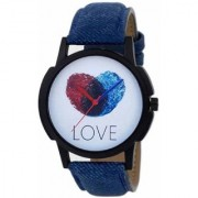 HRV New Love Finger Print Dial Blue Leather Strap Watches Watch BY HRV