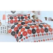 "Спален комплект ""Black&Red Circles"" Ранфорс - 100% Памук"