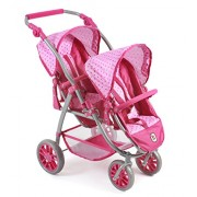Bayer Chic 2000Â 689Â 31Â Tandem Buggy Vario, Gemini Doll Pram for Dolls Up to Approx. 50Â Cm, Dots Pink