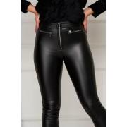 Pantaloni SunShine negri casual din imitatie de piele cu un croi mulat accesorizati cu fermoar