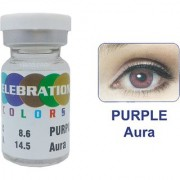 Celebration Conventional Colors Yearly Disposable 2 Lens Per Box With Affable Lens Case And Lens Spoon(Purple Aura-0.50)