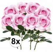 Bellatio flowers & plants 8x Roze rozen Carol kunstbloemen 37 cm