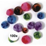 Rayher hobby materialen 100x knutsel pompons assortiment