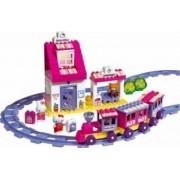 Set constructie Unico Plus Hello Kitty Trenulet cu gara 95 piese