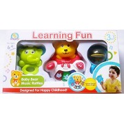 RIANZ All New Set of 3 Learning Fun Baby Rattle Toy With Light And Music - Baby Bear Elephant Music Rattles Toy
