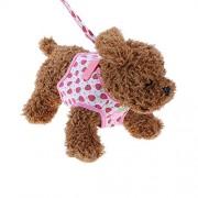 Rrimin Safety Walking Dog Puppy Pet Harness Chest Strap Vest Leash(Strawberry)(L)