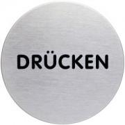 """DURABLE · Hunke und Jochheim GmbH & Co. KG """"DURABLE PICTO Piktogramm """"""""DRÜCKEN"""""""", Ø 83 mm, Hinweissymbol aus hochwertigem Edelstahl, 1 Stück"""""""