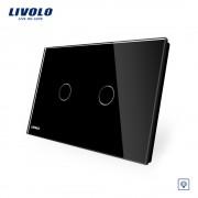 Intrerupator dublu cu variator cu touch Livolo din sticla - standard italian, negru