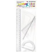 Vonalzókészlet, nagy, műanyag, 4db-os (egyenes 20cm, szögmérő, 2 háromszög)