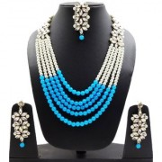 White Kundan with Blue Pearls Rani Haar Necklace with Maang Tikka Wedding Long Haram Bridal Jewellery Sets for Women and
