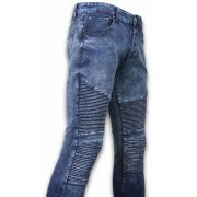 New Stone Exclusieve Ripped Jeans - Slim Fit Biker Jeans - Lined Knee Pads - Blauw