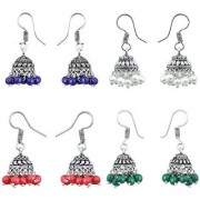 Om Jewells Fashion Jewellery Combo of 4 Multicolour Silver Oxidised Jhumkis for Girls and Women CO1000161