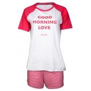 Tommy Hilfiger Pijamale femei de Cotton Iconic Set Ss Slogan UW0UW00371-105 White/Rapsberry Wine S
