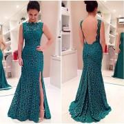 Vestido de Noche Espalda Descubierta E-Thinker para Mujer-Verde