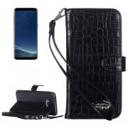 Para Samsung Galaxy S8 Textura Cocodrilo Funda De Ecocuero Flip Horizontal Con Titular Y Ranuras Para Tarjetas Y Billetera Y Lanyard (negro)