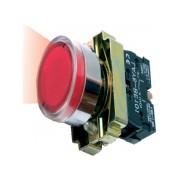 Buton de comanda luminos, revenire cu led (cap+ etrier+modul lampa+ led+1ND), negru, RI 5