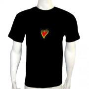 LED Electro Luminescence Heart Shaped Flash DJ Music Activated Equalizer T Shirt 12020