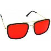 Flash Retro Square Sunglasses(Red)