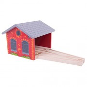 Bigjigs Rail Double Engine Shed - Other Major Wooden Rail Brands are Compatible