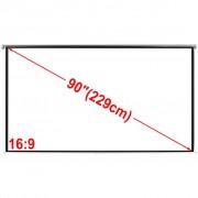 vidaXL Ecran proiecție manual 200 x 110 cm alb opac 16:9 de tavan sau perete