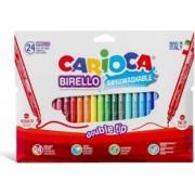 Carioca super lavabila cu 2 capete varf subtire-gros 24 culori-cutie CARIOCA Double Nib