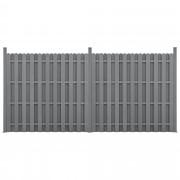 [neu.holz]® Kerítés WPC kerítés elem kerítéspanel 11 léccel 185 cm x 376 cm szürke