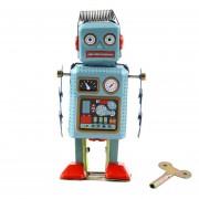 Vintage Reloj Mecánico Hasta El Viento Metal Robot Andante Tin Toy Reg