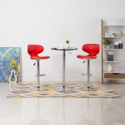 vidaXL Бар столове, 2 бр, червени, изкуствена кожа