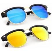 FOX fusion Clubmaster Sunglasses(Blue, Yellow)
