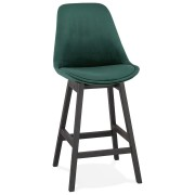 Halfhoge design barkruk 'MORISS MINI' in groen fluweel en poten in zwart hout