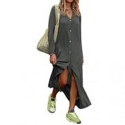 discountstore145 Vestidos para mujer de color sólido, manga larga, cuello en V, botones en V, parte delantera, vestido largo para la vida diaria, gris, X-large