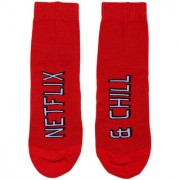 Soxytoes Netflix & Chill Boys Red Cotton Ankle Length Pack of 1 Pair Unisex Casual Socks (STS0104)