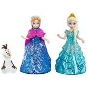 Mattel Disney Frozen Glitter Glider Anna, Elsa And Olaf Doll Set