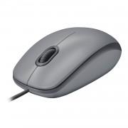 Logitech M110 Silent - Rato - destros e canhotos - óptico - 3 botões - com cabo - USB - cinza médio