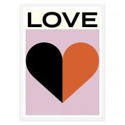 artvoll - Love Poster mit Rahmen, weiß, 50 x 70 cm
